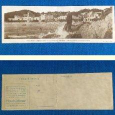 Postales: POSTAL DOBLE, COSTA BRAVA, PLATJA DE LLAFRANC, PUBLICIDAD HOTEL CELIMAR, IMP. P. RIBAS -PALAFRUGELL-. Lote 32043503