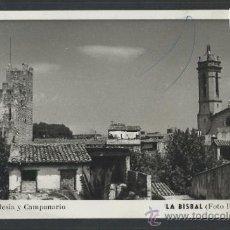 Postales: LA BISBAL - CASTILLO IGLESIA Y CAMPANARIO - FOTO RIERA - (10.765). Lote 32299256