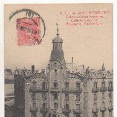 Postales: BARCELONA.- CONSTRUCCIONES MODERNAS. CALLE DE CASPE 54, ARQUITECTO: ADOLFO RUIZ. (C.1910).. Lote 32433532