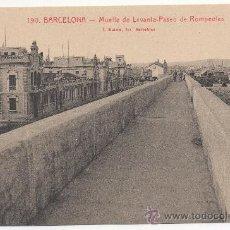 Postales: BARCELONA.- MUELLE DE LEVANTE - PASEO DE ROMPEOLAS.. Lote 32548524