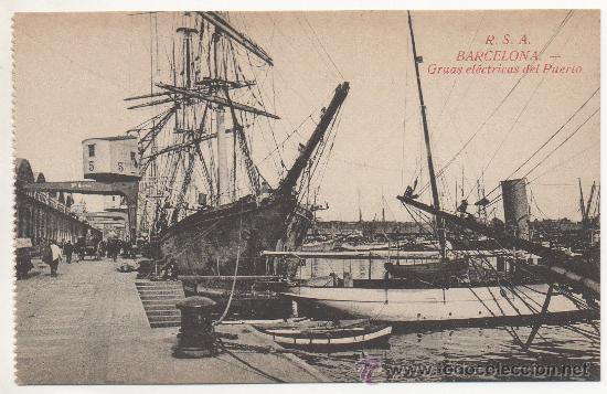 BARCELONA.- GRUAS ELÉCTRICAS DEL PUERTO. (Postales - España - Cataluña Antigua (hasta 1939))