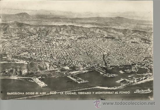 BARCELONA VISTA DESDE EL AIRE ESCRITA CON SELLOS (Postales - España - Cataluña Antigua (hasta 1939))