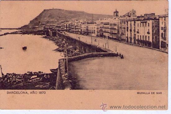 'BARCELONA' -AÑO 1870 - MURALLA DEL MAR- POSTAL AÑOS 10' (Postales - España - Cataluña Antigua (hasta 1939))