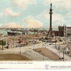 Postales: Nº 18 - BARCELONA. PUERTA DE LA PAZ CON MONUMENTO COLÓN - LOUIS GLASER - SIN CIRCULAR. Lote 32881922