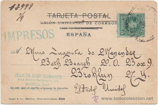 Postales: BARCELONA.- CALLE DE LAS CORTES. (C.1900). - Foto 2 - 33202637