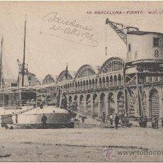 Postales: BARCELONA.- PUERTO. MUELLE DE MURALLA. (C.1910).. Lote 33279699