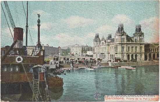 BARCELONA.- PUERTA DE LA PAZ Y COLÓN. (C.1910) (Postales - España - Cataluña Antigua (hasta 1939))