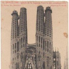 Postales: BARCELONA.- IGLESIA DE LA SAGRADA FAMILIA (EN CONSTRUCCIÓN). ARQUITECTO A.GAUDÍ.. Lote 33323571