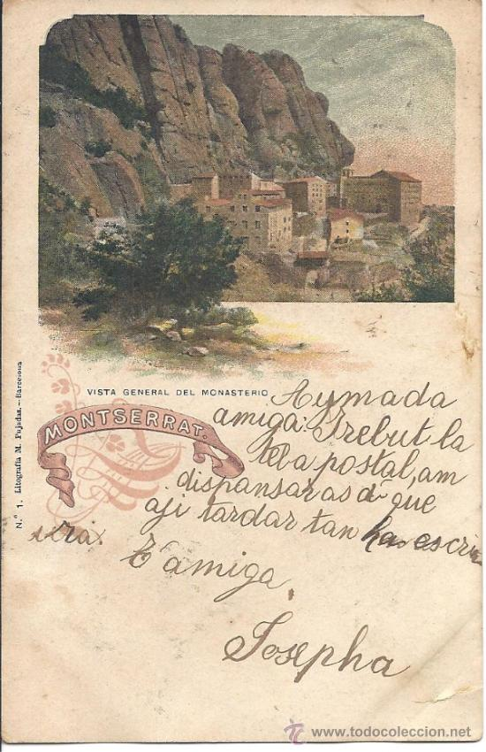 PS3134 LOTE DE 10 POSTALES LITOGRÁFICAS DE MONTSERRAT. SERIE COMPLETA. M. PUJADAS. 1903 (Postales - España - Cataluña Antigua (hasta 1939))