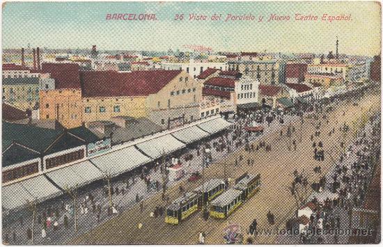 BARCELONA.- VISTA DEL PARALELO Y NUEVO TEATRO ESPAÑOL. (C.1910). (Postales - España - Cataluña Antigua (hasta 1939))