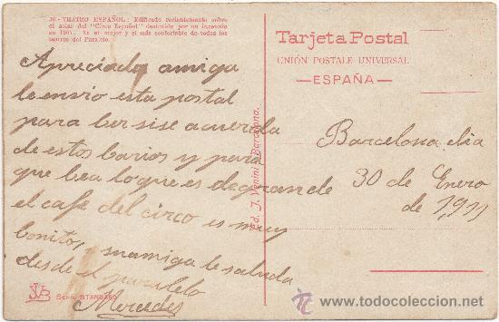 Postales: BARCELONA.- VISTA DEL PARALELO Y NUEVO TEATRO ESPAÑOL. (C.1910). - Foto 2 - 33359144