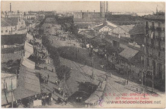 BARCELONA.- CALLE DEL MARQUÉS DEL DUERO Á VISTA DE PÁJARO (PARALELO). (Postales - España - Cataluña Antigua (hasta 1939))