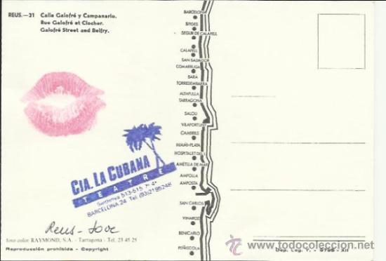 Postales: CIA DE TEATRE TEATRO LA CUBANA REUS EL CAMPANAR REUS JOVE 85 SELLADA Y LABIOS IMPRESOS DELIKATESSEN - Foto 2 - 33500685