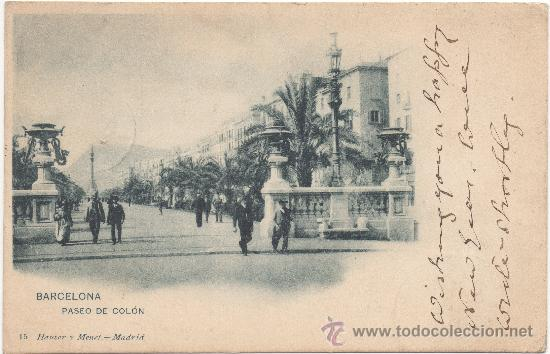 BARCELONA.- PASEO DE COLÓN. (C.1900). (Postales - España - Cataluña Antigua (hasta 1939))