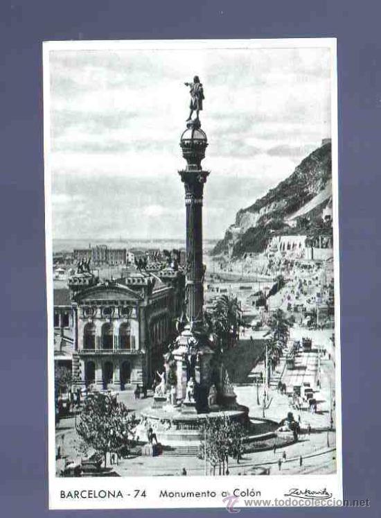 TARJETA POSTAL DE BARCELONA. 74. MONUMENTO A COLON. ZERKOWITZ. (Postales - España - Cataluña Antigua (hasta 1939))