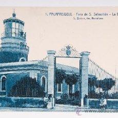 Postales: POSTAL DE PALAFRUGELL Nº 1, FARO DE S. SEBASTIAN LA ENTRADA, FOTOGRAFIA VIRADA. Lote 34585083