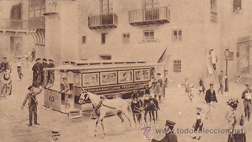 ESPECIE DE POSTAL DE BARCELONA - TRANVIA A CABALLOS EN LA ANTIGUA PLAZA DE SANTA ANA (Postales - España - Cataluña Antigua (hasta 1939))