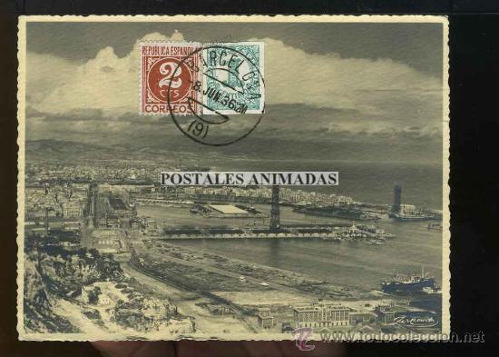 (A03650) BARCELONA - VISTA DEL PUERTO - ZERKOWITZ Nº2 - BONITOS SELLOS REPUBLICA (Postales - España - Cataluña Antigua (hasta 1939))