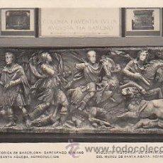 Postales: EVOLUCION HISTORICA DE BARCELONA, SARCOFAGO ROMANO COLONIA FAVENTIA JULIA MUSEO SANTA AGUEDA SIN EDI. Lote 36662709