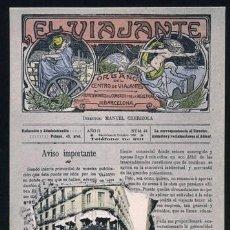 Postales: POSTAL PUBLICACION EL VIAJANTE BARCELONA . J. JOANOLA CA AÑO 1900 .. Lote 36955382