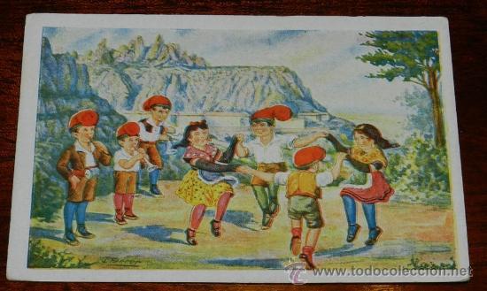 ANTIGUA POSTAL DE EDICIONES CATALANES, BARCELONA, SERIE SARDANA A MONTSERRAT, N.9, NO CIRCULADA. (Postales - España - Cataluña Antigua (hasta 1939))