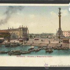 Postales: BARCELONA - 47310 - ADUANA Y MONUMENTO COLON - REVERSO SIN DIVIDIR - (17435). Lote 38991580