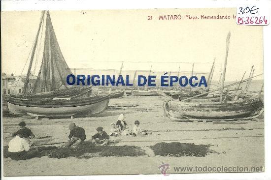 (PS-36264)POSTAL DE MATARO-PLAYA.REMENDANDO LAS REDES (Postales - España - Cataluña Antigua (hasta 1939))