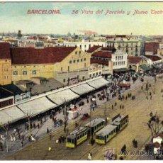 Postales: PRECIOSA POSTAL - BARCELONA - VISTA DEL PARALELO Y NUEVO TEATRO ESPAÑOL - TRANVIAS - MUY AMBIENTADA . Lote 42886735