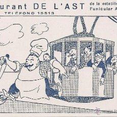 Postales: BARCELONA - RESTAURANT DE L'AST EN MIRAMAR. Lote 39302331