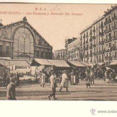 Postales: BARCELONA.- LOS ENCANTES Y MERCADO SAN ANTONIO. Lote 39670418