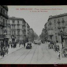 Postales: ANTIGUA POSTAL DE BARCELONA, PLAZA URQUINAONA Y CALLE CLARIS, ROISIN 195, SIN CIRCULAR. Lote 39608778
