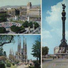 Postales: POSTAL BARCELONA. PLAZA DE CATALUÑA. TEMPLO DE LA SAGRADA FAMILIA. MONUMENTO A COLÓN. Lote 40623806