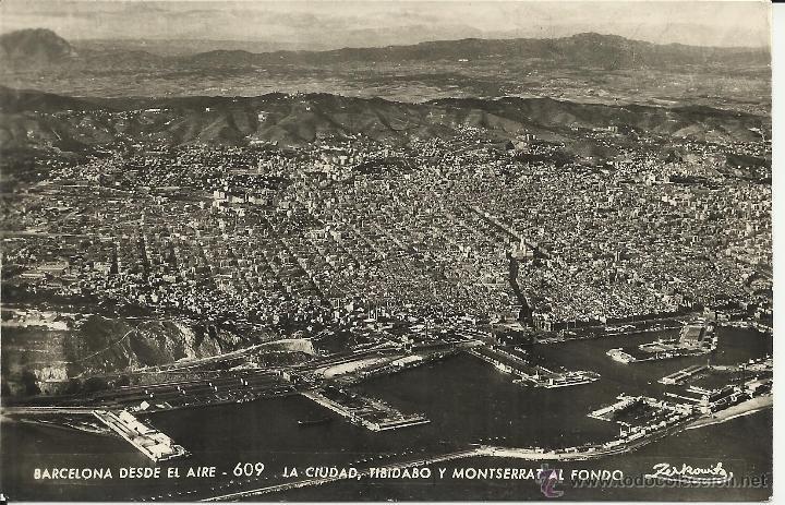 BARCELONA DESDE EL AIRE ESCRITA (Postales - España - Cataluña Antigua (hasta 1939))