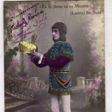 Postales: TEATRO EN EL SENO DE LA MUERTE. LAURIA. ACTOR SR SOLÁ. AUTÓGRAFO DEL ARTÍSTA. FABREGAT FOTOGRAFIA. Lote 227825790