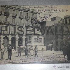Postales: REUS PLAZA PRIM ANIMADA LAGUNA CIRCULADA 1904 REUS A PLAISANCE DU GERS MUY BUEN ESTADO CONSERVACION. Lote 41220542