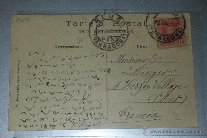Postales: reus plaza de prim atv 438 bis circulada reus francia 1910 escrita con taquigrafia - Foto 2 - 41220578