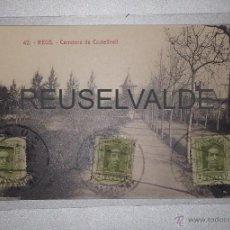 Postales: REUS 42 CARRETERA DE CASTELLVELL LA FLECA CIRCULADA SELLO FARMACIA VALLVERDÚ EN REVERSO. Lote 41220612