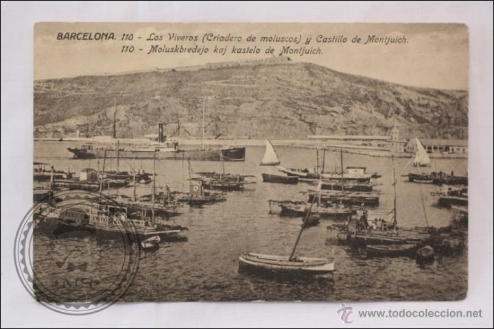 Postal antigua y castillo montjui comprar for Viveros barcelona