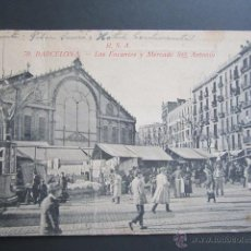 Postales: POSTAL BARCELONA. LOS ENCANTES Y MERCADO SAN ANTONIO. CIRCULADA. . Lote 41591707