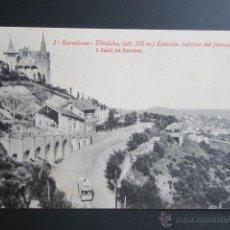 Postales: POSTAL BARCELONA. TIBIDABO. ESTACIÓN INFERIOR DEL FUNICULAR. . Lote 41592373