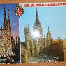 Postales: POSTAL BARCELONA. SAGRADA FAMILIA Y CATEDRAL. ESCRITA CIRCULADA AÑO 1984. Lote 42049622