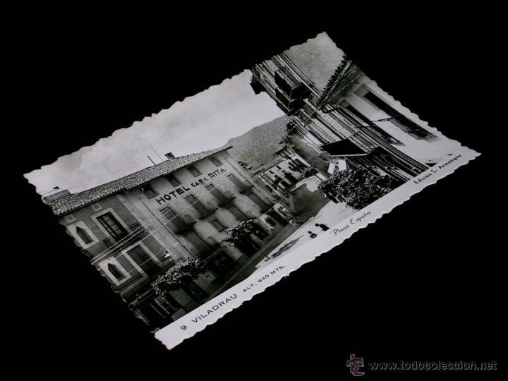 POSTAL ORIGINAL VILADRAU, PLAÇA PLAZA ESPAÑA, HOTEL CASA RITA; ARMENGOU. (Postales - España - Cataluña Antigua (hasta 1939))