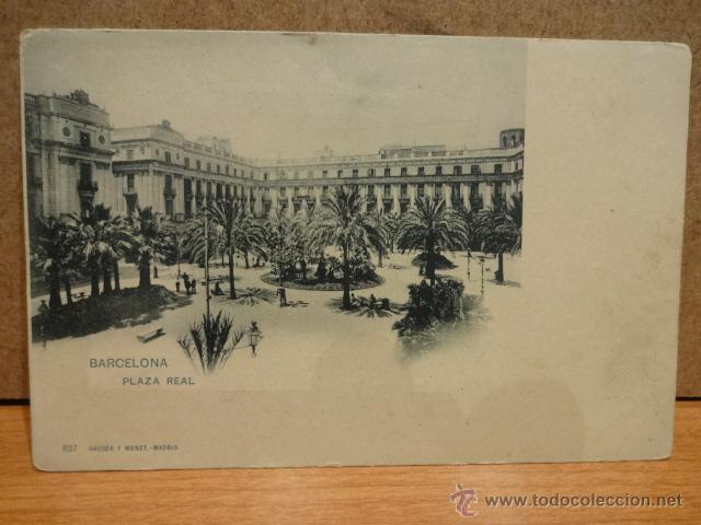BARCELONA. PLAZA REAL. HAUSER Y MENET 637. DORSO INDIVISO. PERFECTA SIN CIRCULAR. DIFÍCIL. (Postales - España - Cataluña Antigua (hasta 1939))