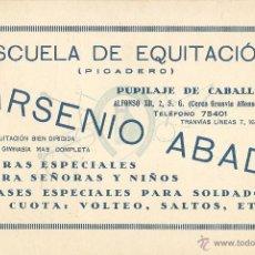 Postales: BARCELONA - ESCUELA DE EQUITACIÓN DE ARSENIO ABAD.. Lote 42957300