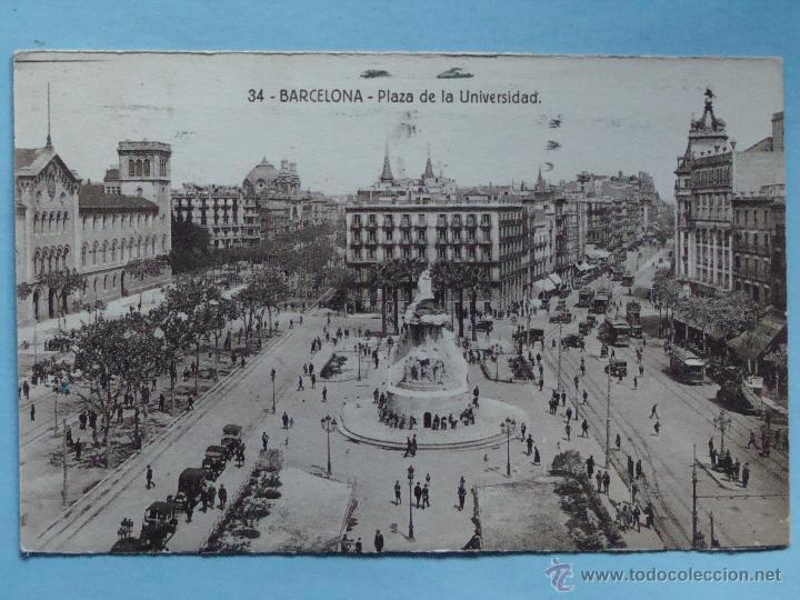 Postal De Barcelona Ano 1930 Plaza De La Universidad Tranvias Taxis 1702