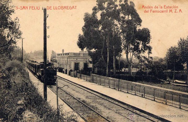 SAN FELIU DE LLOBREGAT (BARCELONA).- ANDÉN DE LA ESTACIÓN DEL FERROCARRIL M.Z.A (Postales - España - Cataluña Antigua (hasta 1939))