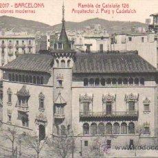 Postales: BUENA POSTAL DE BARCELONA -RAMBLA CATALUÑA -ARQUITECO PUIG CADAFALCH ATV 2017. Lote 43511339