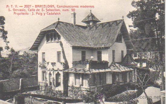 BUENA POSTAL DE BARCELONA - SAN GERVASIO -ARQUITECO PUIG CADAFALCH ATV 2027 (Postales - España - Cataluña Antigua (hasta 1939))