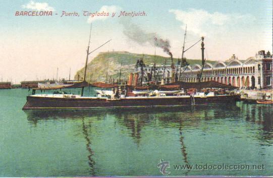 POSTAL BARCELONA - PUERTO TINGLADOS Y MONTJUICH BARCO-Nº 60 J. VENINI (Postales - España - Cataluña Antigua (hasta 1939))