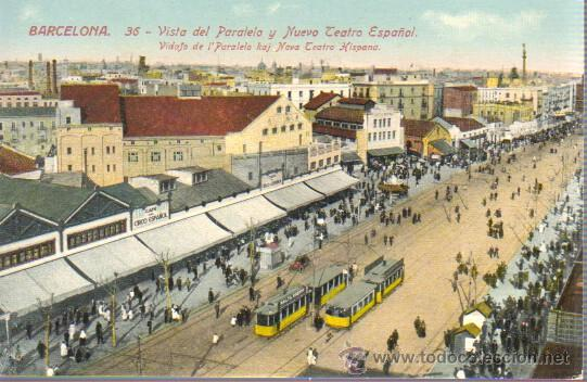 POSTAL BARCELONA -PARALELO Y NUEVO TEATRO ESPAÑOL -Nº 36 J. VENINI (Postales - España - Cataluña Antigua (hasta 1939))